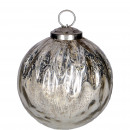 Glass sphere Pleu, H11cm D10cm, silver-clear
